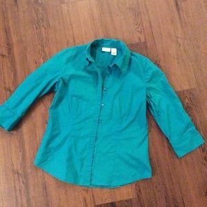 Small Teal Blue 3/4 Length Sleeve Button Down